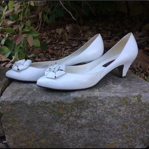 80's White Leather Pumps Madonna Cocktail Party